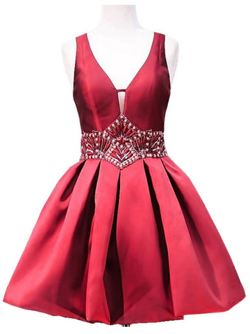 Charming Red A-line V-neck Red Homecoming Dress Short Prom Drsess SKY910
