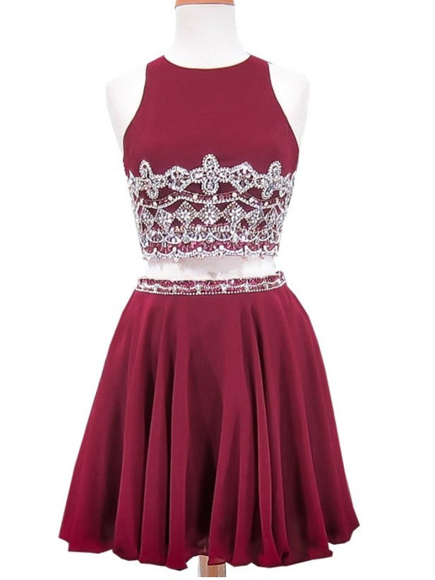 Two Pieces A-line Scoop Burgundy Homecoming Dress Short Prom Drsess SKY911
