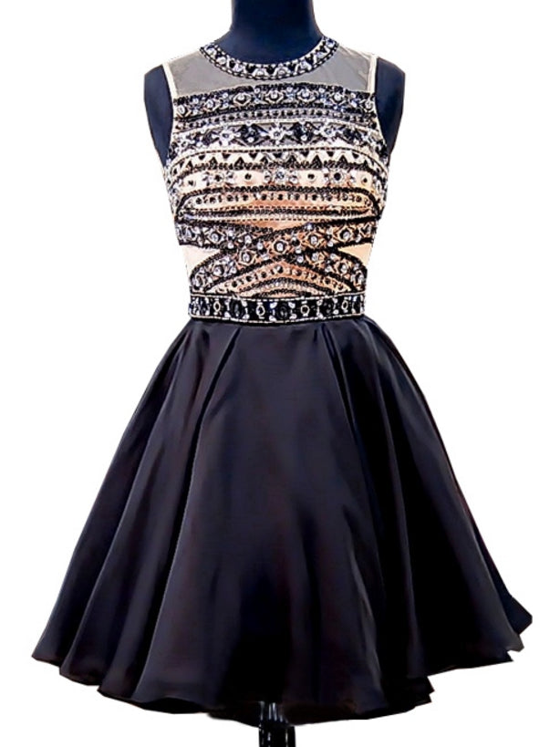 A-line Scoop Black Homecoming Dress Short Prom Drsess With Beading SKY912