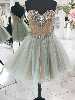 A-line Chic Homecoming Dress Modest Sweetheart Tulle Green Modest Cheap Short Prom Dress SKY920
