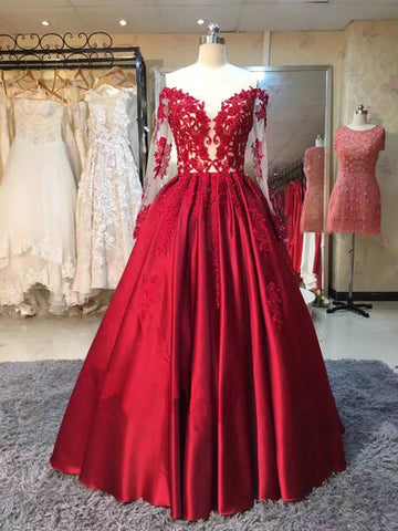 2017 Chic Prom Dress Burgundy Off-the-shoulder Long Sleeves Satin Evening Gown Dresses SKY921