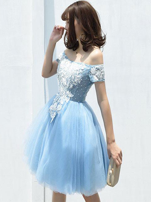A-line Off-the-shoulder Blue Homecoming Dress Tulle Short Prom Drsess SKY928