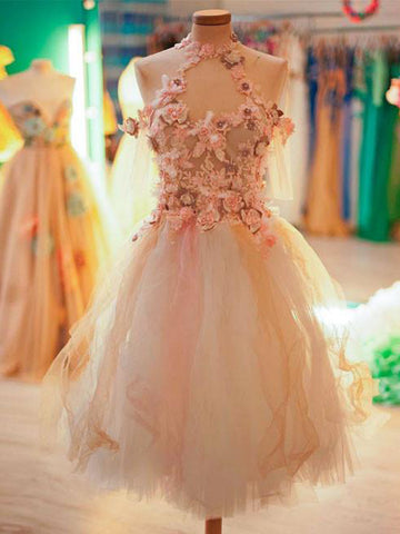 Charming A-line High Neck Flower Homecoming Dress Tulle Short Prom Drsess SKY931