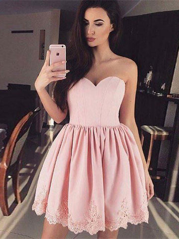 2017 Chic Homecoming Dress Short Pink Sweetheart Cheap Prom Dress SKY932