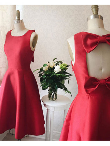 Charming A-line Scoop Homecoming Dress Red Short Prom Drsess SKY936