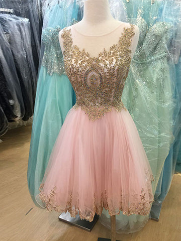 Charming A-line Straps Homecoming Dress Pink Short Prom Drsess SKY938