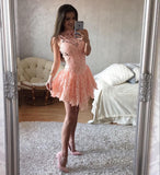 Charming A-line High Neck Homecoming Dress Pink Short Prom Drsess SKY941