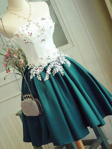A-line Strapless Satin Homecoming Dress Dark Green Short Prom Drsess SKY942
