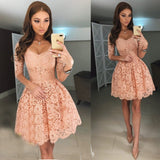 A-line V-neck Tulle Homecoming Dress Pink Short Prom Drsess With Lace SKY943