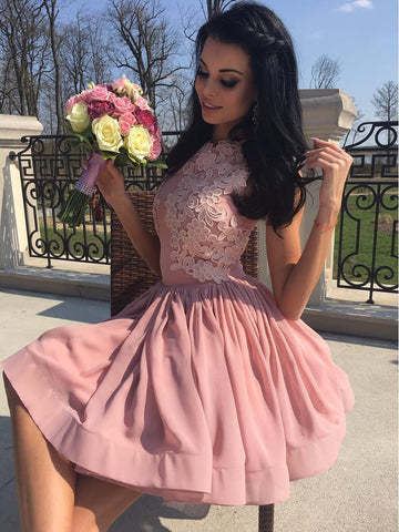 A-line Bateau Chiffon Homecoming Dress Pink Short Prom Drsess With Appliques SKY944