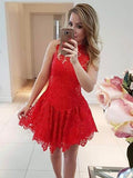 A-line High Neck Tulle Red Homecoming Dress Short Prom Drsess With Lace SKY950