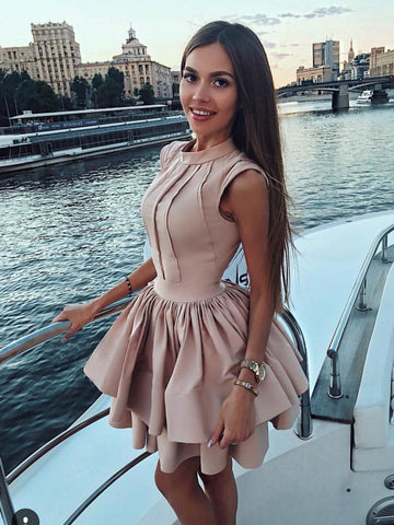 A-line High Neck Satin Homecoming Dress Short Prom Drsess SKY953