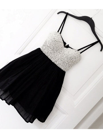 A-line Sweetheart Chiffon Black Homecoming Dress Short Prom Drsess SKY954