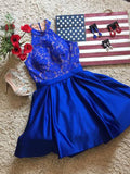 A-line High Neck Elastic Woven Satin Royal Blue Homecoming Dress Short Prom Drsess SKY955