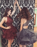A-line High Neck Tulle Blue Homecoming Dress Short Prom Drsess SKY957