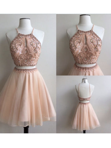 Two Pieces A-line Spaghetti Straps Pearl Pink Homecoming Dress Short Prom Drsess SKY957