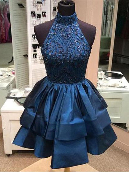 A-line High Neck Dark Blue Homecoming Dress Short Prom Drsess With Beading SKY958