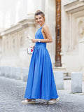 2017 Simple Prom Dress Long Cheap Blue Scoop Sleeveless Satin Evening Dresses SKY969