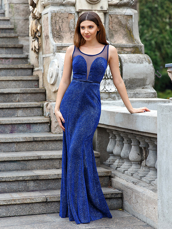 2017 Chic Prom Dress Long Cheap Royal Blue Scoop Sleeveless Tulle Evening Dresses SKY973