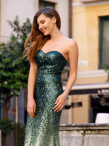 2017 Mermaid Prom Dress Long Cheap Dark Green Sweetheart Sleeveless Tulle Evening Dresses SKY976