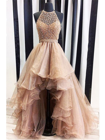 High Low A-line Spaghetti Straps Floor-length Organza Prom Dress Evening Drsess SKY983