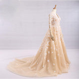 Charming A-line V-neck Floor-length Prom Drsess Evening Gowns SKY984
