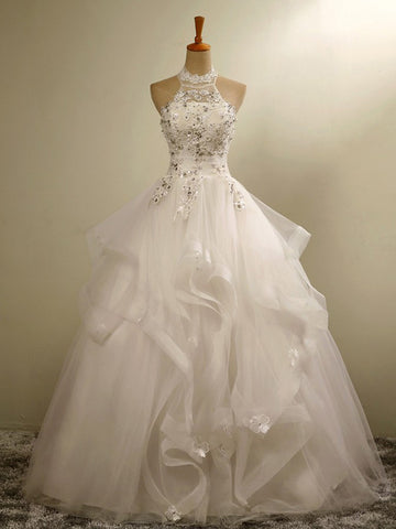 Charming A-line Halter Floor-length Prom Drsess Wedding Dress SKY986