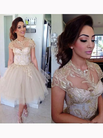 A-line Chic Homecoming Dress Modest Scoop Tulle Modest Cheap Short Prom Dress SKY989