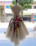 Charming A-line Scoop Homecoming Dress Short Prom Drsess With Appliques SKY995