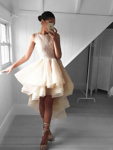 Charming A-line Bateau Homecoming Dress Short Prom Drsess With Lace SKY997