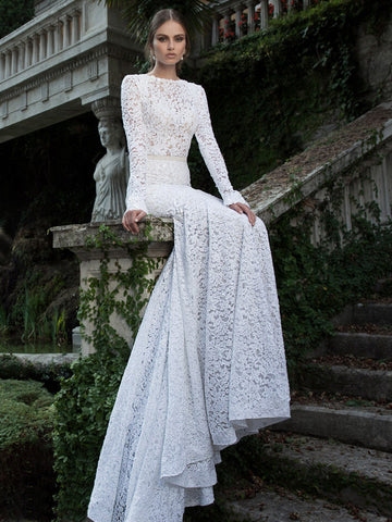 White prom dress,Trumpet Mermaid long sleeve Bateau Sweep Brush Train prom dress evening dress with lace SP7241