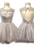 open back short prom dresses,Silver A-line Scoop Short Mini Tulle Homecoming Dress SP8138