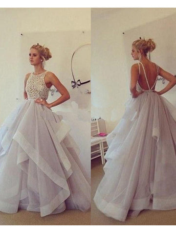 flowy prom dresses,A-line Scoop Floor-length Organza Evening Dress Prom Dresses SP8234