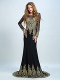 Sexy Prom Dresses Long, Black Trumpet/Mermaid Scoop Floor-length Chiffon Prom Dress/Evening Dress AMY034