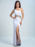 Sheath/Column One Shoulder Floor-length Chiffon Prom Dress/Evening Dress #AMY041