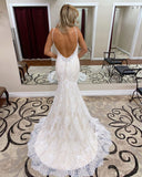 Trumpet/Mermaid Spaghetti Straps Lace  Bridal Gonws Backless Wedding Dress WEK116