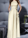 Sheath/Column Bateau Ruffles Sleeveless Floor-Length Satin Gold Bridesmaid Dresses/Prom Dresses/Evening Dresses UK018759