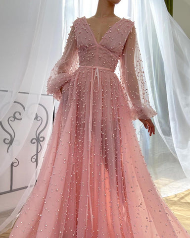 Chic A-line Long Sleeve V Neck Prom Dress Pink Evening Dress WED003