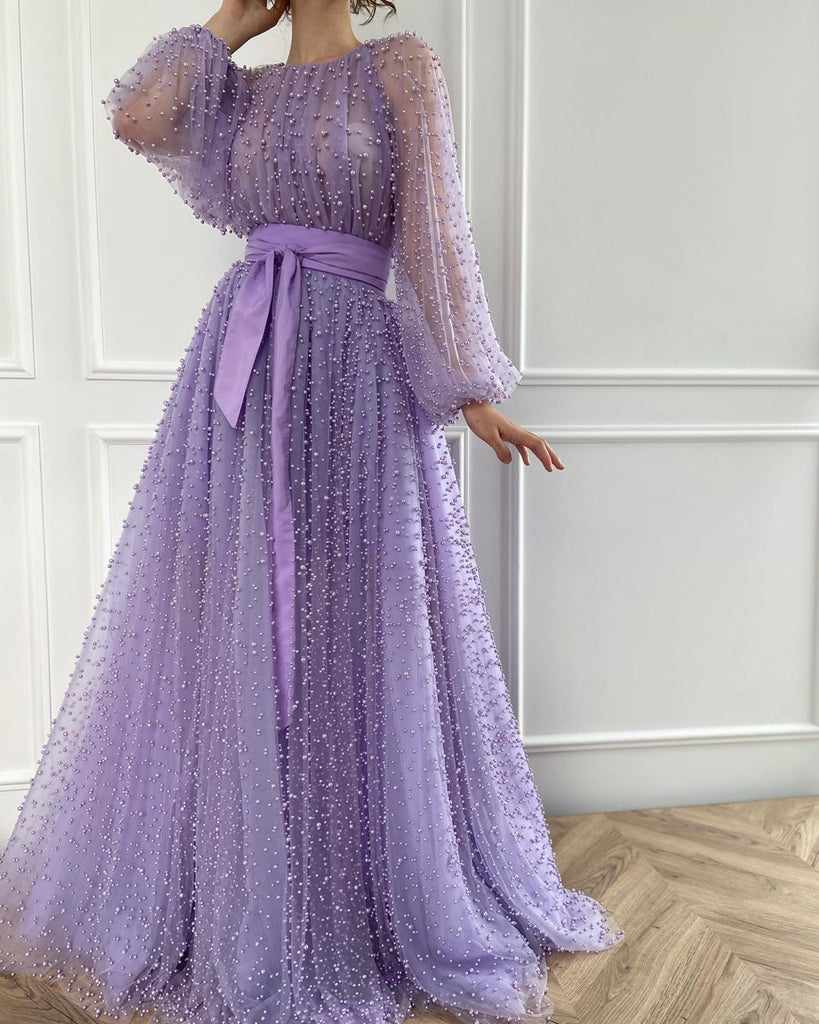 Chic A-line Long Sleeve Scoop Prom Dress Lilac Evening Dress WED004