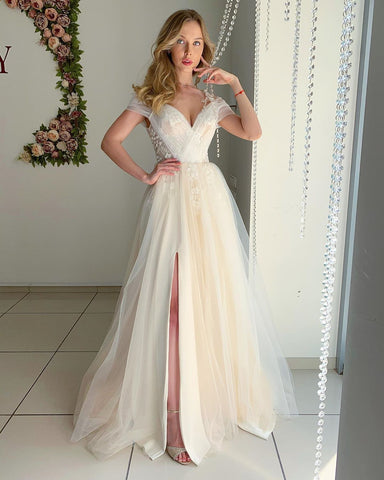 Chic A-line Off The Shoulder Bridal Gonws Appliques Wedding Dress WED005