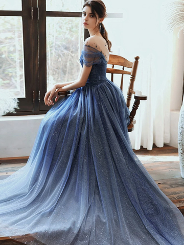 Stunning Blue Long Prom Dress Tulle Beaded Evening Dress With Sleeve WED009