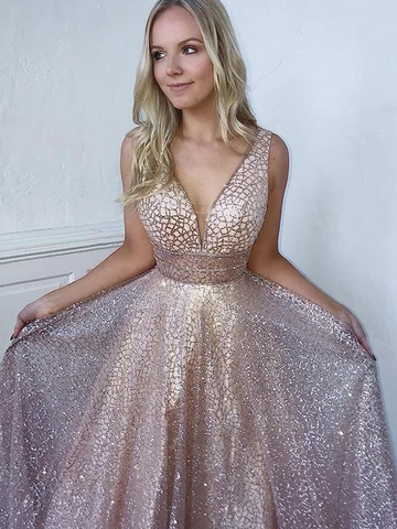Bling A Line Deep V Neck  Prom Dresses with Sequins Evening Dress WED010