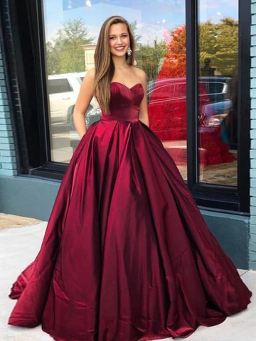 A-Line Sweetheart Floor-Length Burgundy Prom Dress with Pockets WED013