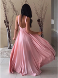A-Line Chic Cheap Backless Floor-Length Pink Prom Dress WED015