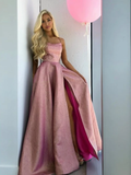 A-Line Spaghetti Straps Backless Sweep Train Rose Pink Split Prom Dress WED016