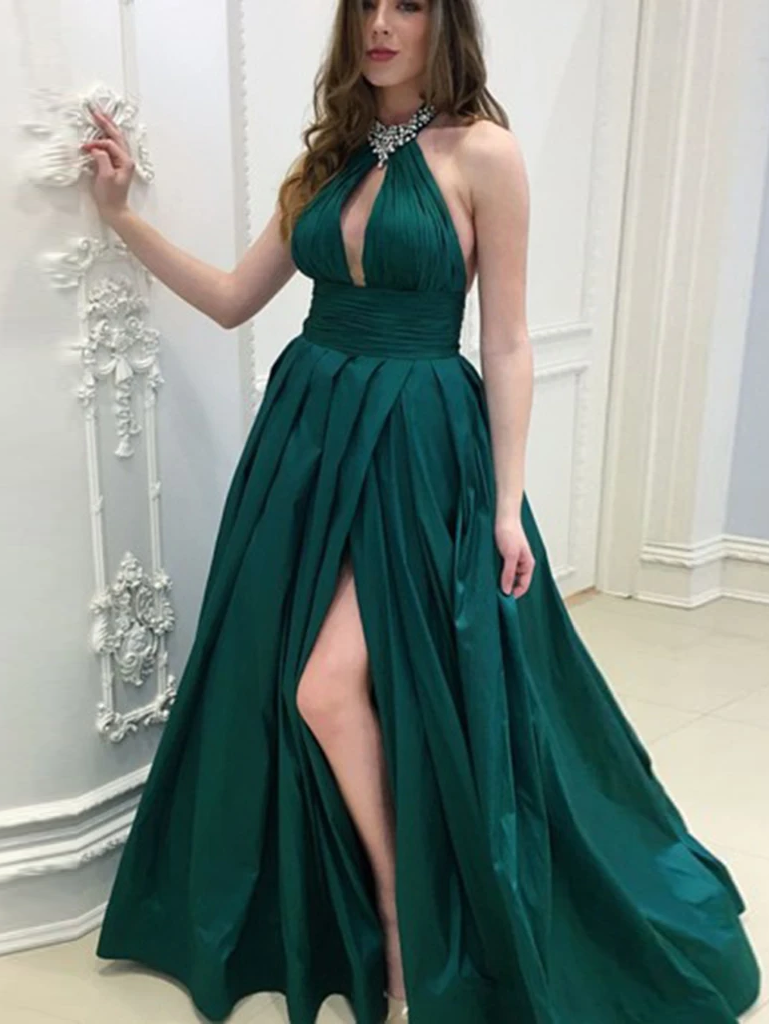 A Line Chic Dark Green Long Backless Prom Dress with Split WED019