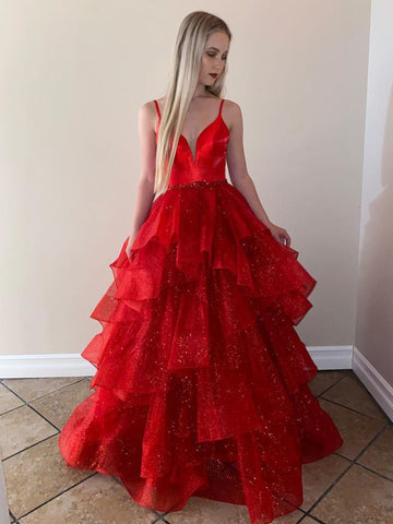 Ball Gown Sequins Floor-Length Prom Dress Red Beautiful Prom Gown WED021