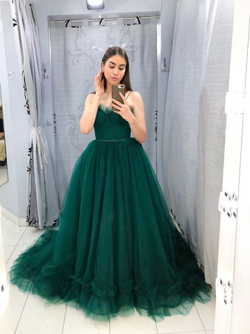 Hunter Tulle Plus Size Prom Dress Green Sleeveless Prom Gown WED022