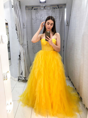 Yellow Tulle Plus Size Prom Dress A Line Sleeveless Prom Gown WED023
