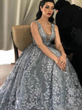 Chic African Lace Prom Dress A Line 3D Floral Prom Gown WED024